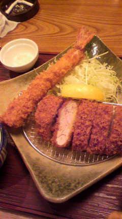 大海老とひれかつ定食