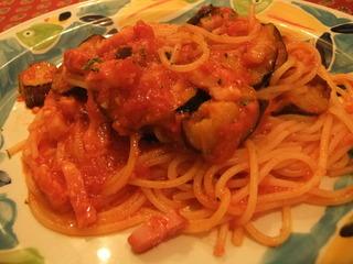 茄子とベーコンのトマトスパゲッティ