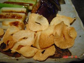 ガーリックチップとこだわりの焼き野菜