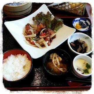 甘酢餡の酢豚定食