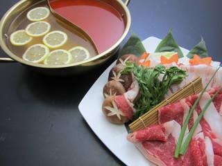 池田牛&国産ポークのレモン鍋&旨辛2種のしゃぶしゃぶ