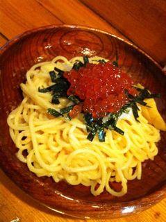 スパゲッティ たらこイクラ大根おろし