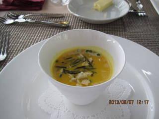 かぼちゃの冷製スープ ヒアルロン酸ジュレ添え
