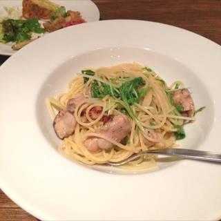 鶏肉と水菜のペペロンチーノ
