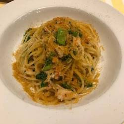 ワタリガニのトマトクリームソース スパゲティ