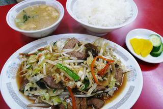 レバー野菜炒め定食