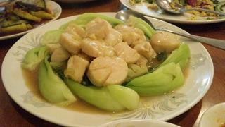 チンゲン菜とホタテ炒め