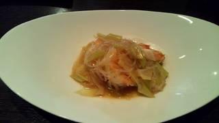 長崎原産の天然海老をつかったネギと生姜の煮込み