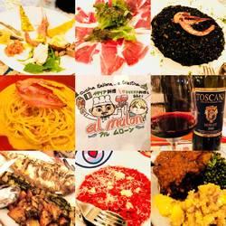 前菜盛り合わせ、ビーツのリゾット、イカスミのリゾット、カルボナーラ、魚、肉、ドルチェ