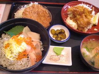 日替わりの3色丼と牡蠣フライ
