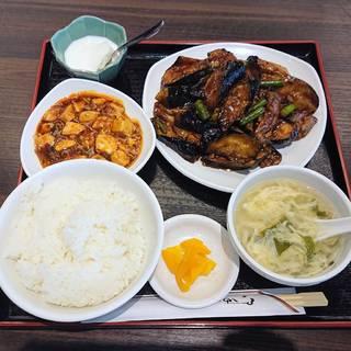ナスと豚挽肉の味噌炒め定食