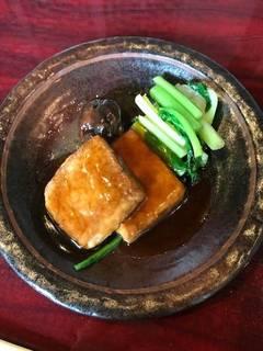青菜と揚げ豆腐のオイスターソース