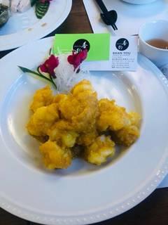 黄袍大蝦 大正エビと塩付たまごの黄身炒め