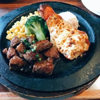 ロブスターテール黄金焼き&ジューシーカットステーキ