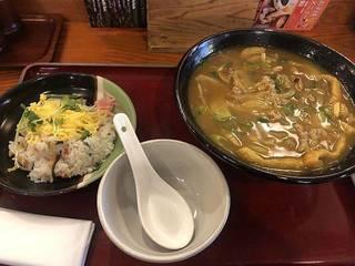 カレーうどん定食(太麺、ばら寿司)