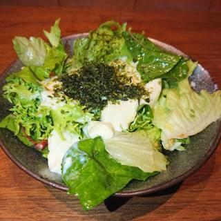 自家製とろける濃厚豆腐のグリーンサラダ