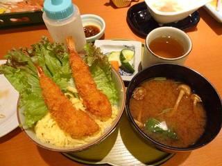 ミニエビフライ丼と味噌汁