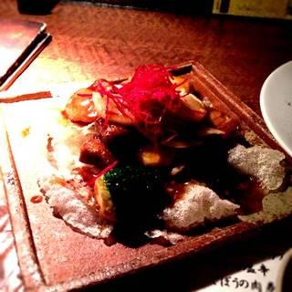 サチク赤豚の角煮唐揚げ 黒酢ソース