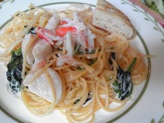 ホタテとズワイ蟹・ほうれん草のクリームスパゲッティ