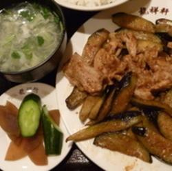 ナスと豚肉炒め定食