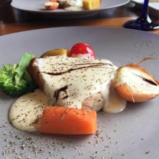糸島豚の炭火焼き フォンドゥータソース