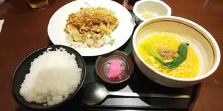 たっぷり野菜の油淋鶏と冷やし担々麺