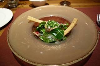 トラふぐ、帆立貝、天使のえびのカルパッチョ菜の花ソース