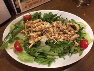 クレソンと蒸し鶏のサラダ