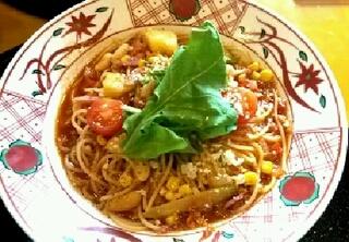 たっぷり野菜のミネストローネスパゲッティ