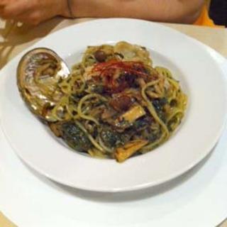 アワビとキノコのバジルソーススパゲティ