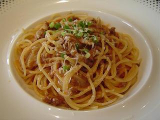 ボルチーニ茸とひき肉のパスタ