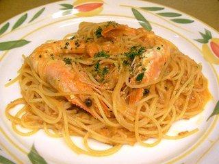 天使の海老のクリームトマトスパゲッティ