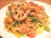 焼きれんこんと壬生菜、ずわいがにのあったかサラダ