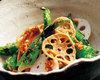 河内蓮根と炙り唐辛子の味噌そぼろサラダ