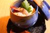 金ごま豆腐の海老湯葉あんかけ