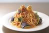 にんにくとゴロゴロ茄子のアラビアータスパゲティ