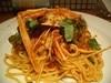 手長エビとズッキーニのトマトクリーム入りスパゲティ