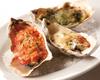 牡蠣の殻焼き3種のグラタン風