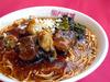 冬牡蠣と牛バラ肉、高菜の煮込みソバ